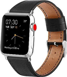 Vancle コンパチブル Apple Watch バンド 本革 レザーベルト アップルウォッチバンド 38mm 42mm 40mm 44mm 交換バンド iWatch Series4/3/2/1 レザー製 (42mm/44mm, ブラック)