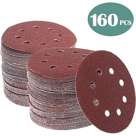 Details about  /5 PCS 5/'/' 8 Hole Sanding Discs Dry Flocking Sandpaper Abrasive Polishing Pads