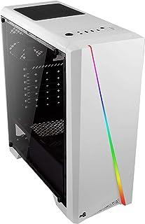 Aerocool Cyclon, Caja de Ordenador Para Pc (Semitorre, Atx, Panel Lateral Acrílico, Led Rgb en Panel Frontal, 13 Modos de Iluminación, Incluye Ventilador Trasero 12Cm, USB 3.0), Blanco