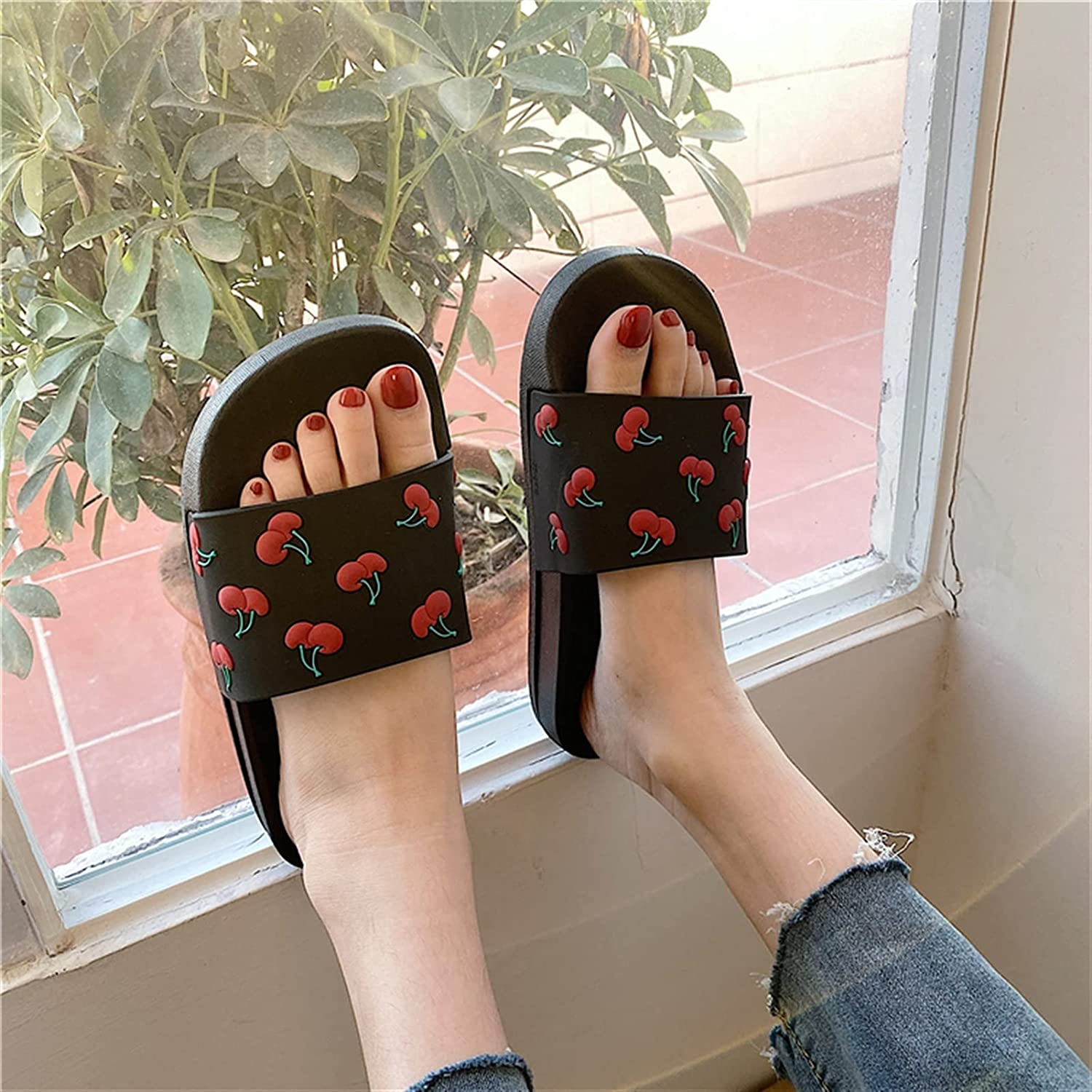 Yuncheng Pillow Cheap mail order specialty store Slides Slippers Cartoon Bottom Thick O Max 76% OFF Cherry 3D