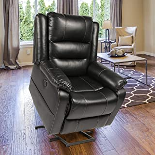 Esright Power Lift Electric Recliner Chair with Heated Vibration Massage Sofa Faux Leather Living Room Chair with 2 Side Pockets, USB Charge Port & Remote Control, Black