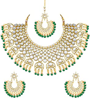 Exquisite Wedding Party Wear Faux Kundan Pearl Beaded Necklace and Earrings Set Indian Ethnic Jewelry for Women