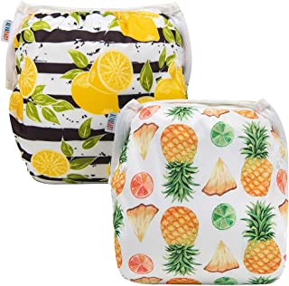 Alva Baby Swim Diapers 2pcs One Size Reuseable Washable & Adjustable for Swimming Lesson & Baby Shower Gifts (Mellow Yellow) YK46-50