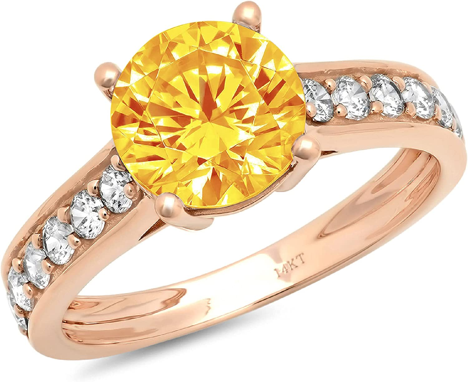 2.25 ct Brilliant Round Cut Solitaire Accent Genuine Flawless Natural Yellow Citrine Gemstone Engagement Promise Statement Anniversary Bridal Wedding Ring Solid 18K Rose Gold