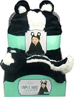 Little Miracles Animal Hugs Collection - Hooded Blanket with Plush, 2 Piece Set (Skunk)