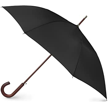 totes Auto Open Wooden Handle J Stick Umbrella, Black
