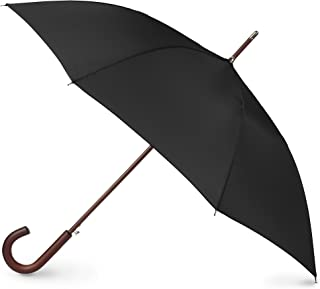 Auto Open Wooden Handle J Stick Umbrella, Black