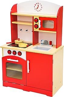 comprar comparacion TecTake Cocina de madera de juguete para niños juguete juego de rol toy - varios modelos - (rojo | no. 401235)