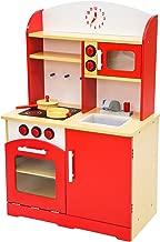 TecTake Cuisine en bois pour enfants jeu du rôle d'imitation chef set kit rouge