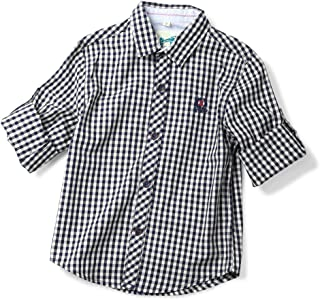 Phorecys Little Boys' Roll Up Long Sleeve Plaid Flannel Shirt
