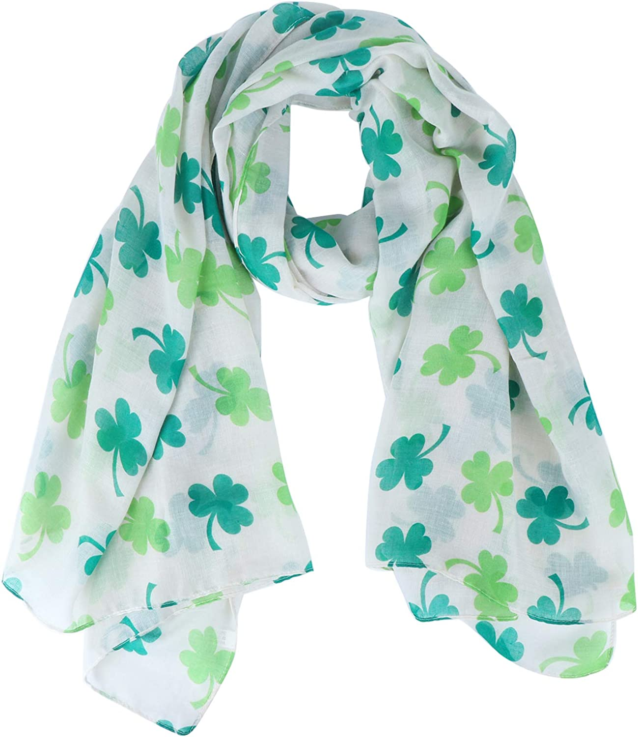 St. Patrick's Day Printed Scarf Irish Clover Scarf Woman Shamrock Scarf Shawl Wrap for Holiday Outfits Accessories