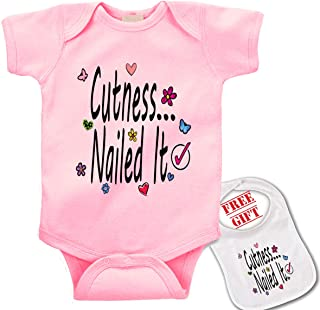 Cuteness. Nailed it! Cute Custom Boutique Baby Bodysuit Onesie & Matching bib