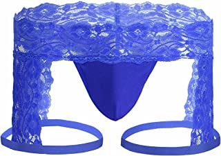 FEESHOW Men's Sexy Lace Boxer Briefs Sissy Pouch Crossdress Panties See-Through Garter Thong G-String Underwear
