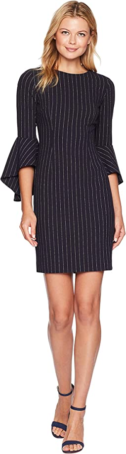 Pinstripe Bell Sleeve Sheath Dress