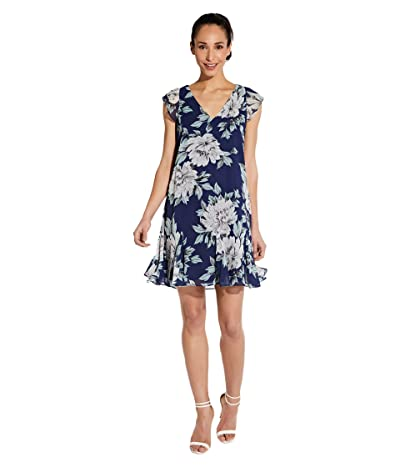 Adrianna Papell Plus Size Floral Chiffon Godet Shift Dress (Navy Multi) Women