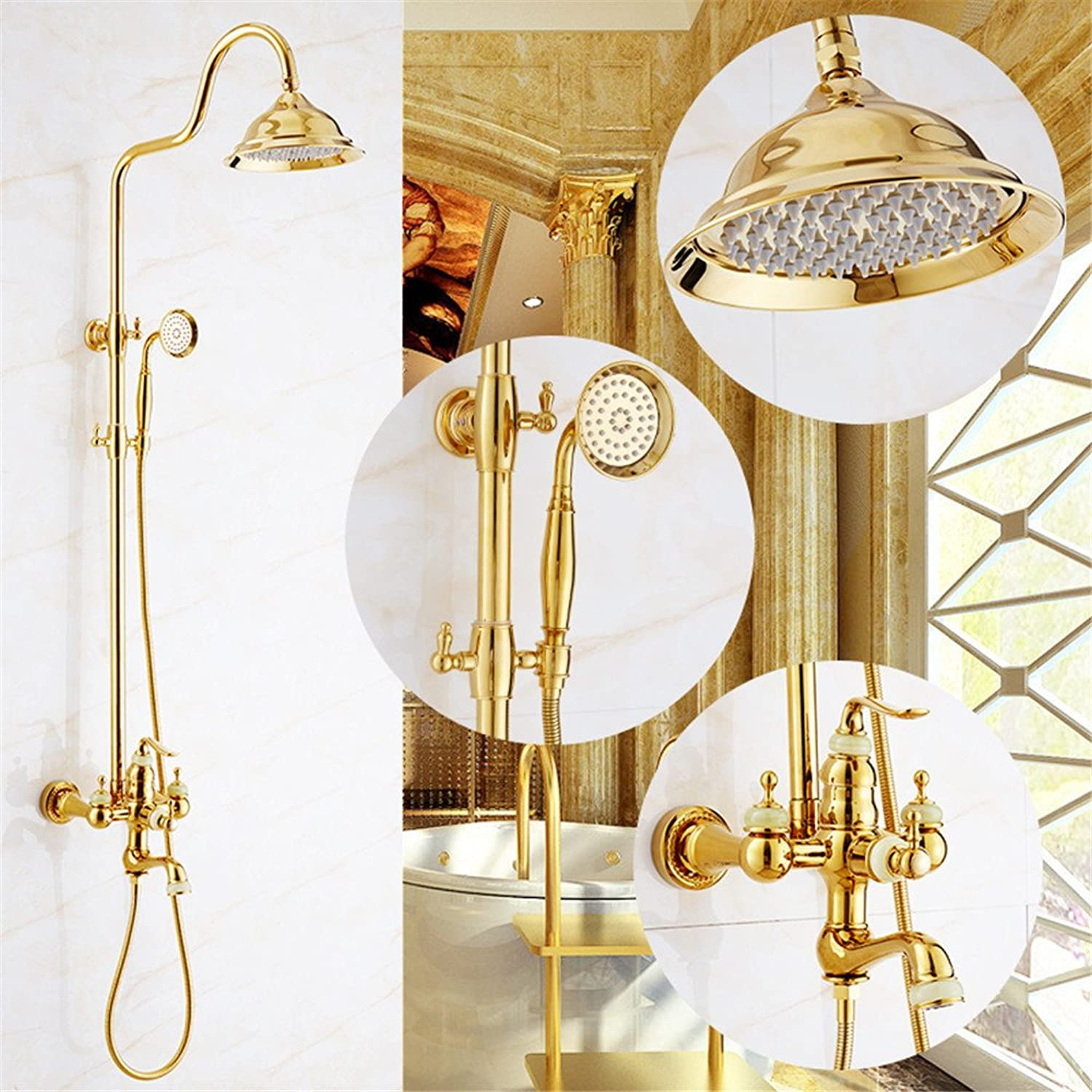 Hlluya Professional Sink Mixer Tap Kitchen Faucet The Jade shower gold retro faucet antique shower set bathroom shower,