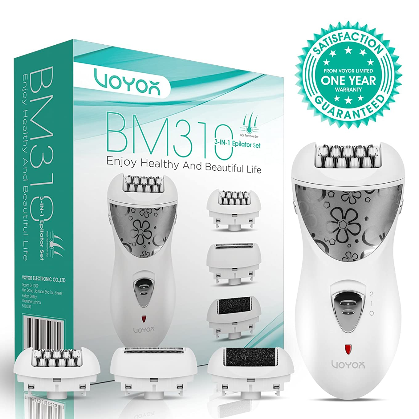 等価視線VOYOR Hair Removal for Women Facial Epilator Electric Razor Cordless Callus Remover 3-in-1 Hair Remover Set Rechargeable Lady Shaver BM310 141[並行輸入]