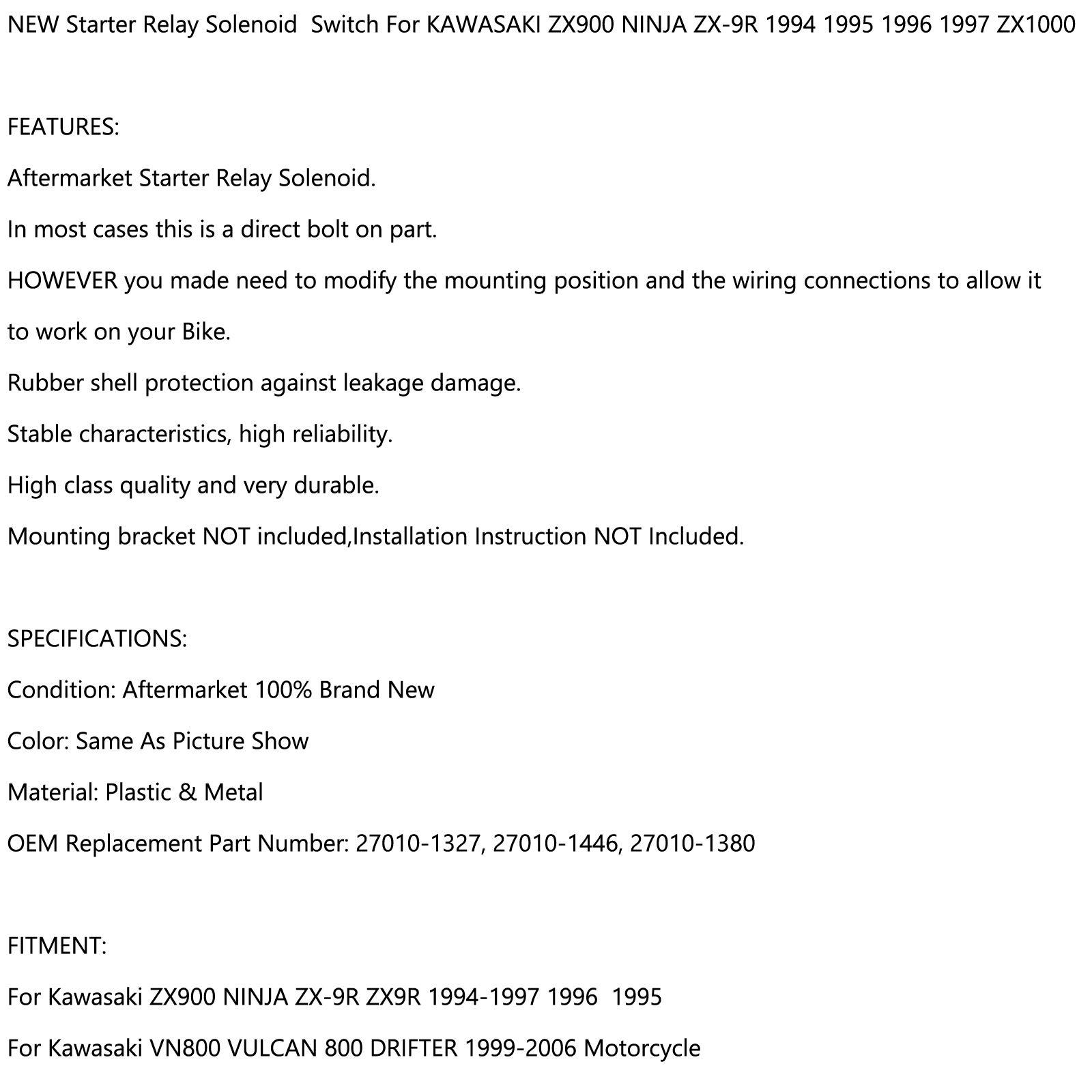 Artudatech Moto Starter Rel/è Solenoide Interruttore per KA-WA-SA-KI VN800 VULCAN 800 DRIFTER 1999-2006 VN 900 VULCAN 2006-2011