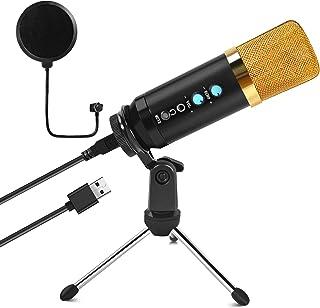 ShinePick mikrofon USB, mikrofon PC ze stojakiem, profesjonalny mikrofon kondensatorowy, Plug & Play, z filtrem pop do kom...