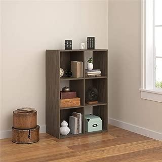 REALROOMS Tally 6 Cube Bookcase, Medium Brown