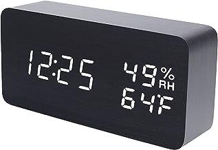 Wekker moderne hout digitale klok snooze led bureau klok weergave tijd temperatuur vochtigheids helderheid verstelbaar voo...