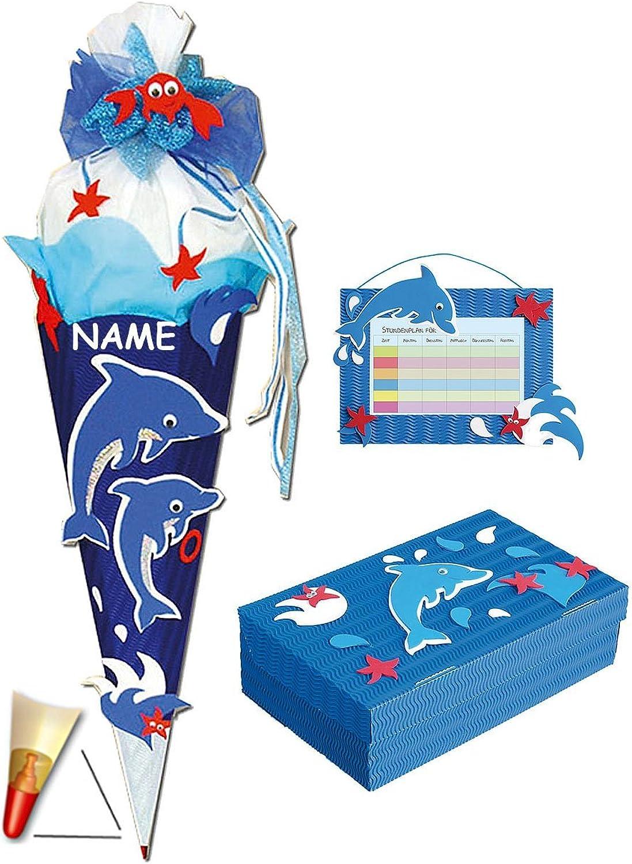 3 TLG. Set  BASTELSET Schultüte - Delfin Delfin Delfin Fisch 85 cm - incl. Namen  Schulbox  Stundenplan - Zuckertüte Roth - Mädchen Jungen Fische Delfine Unterwasser blau.. B00JONITB6 | Genialität  739f3d