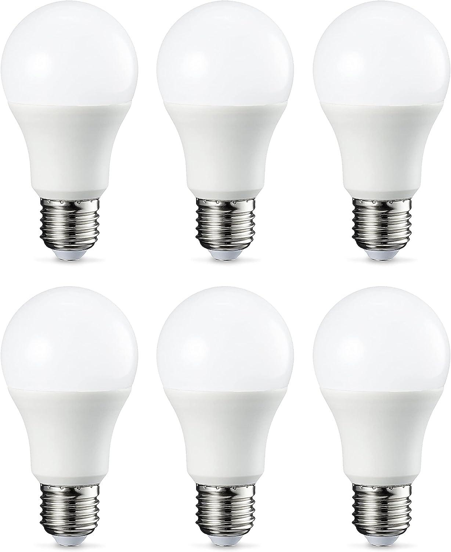 Amazon Basics Bombilla LED Esférica E27, 9W (equivalente a 60W), Blanco Frío - 6 unidades