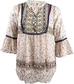 Style & Co. Womens Plus Crochet Hi-Low Peasant Top