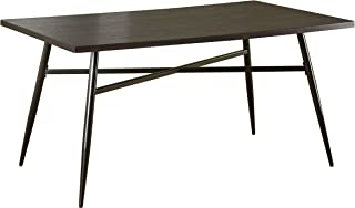 Target Marketing Systems Windsor Mixed-Media Dining Table with Powder-Coated Metal Legs, Espresso/Black