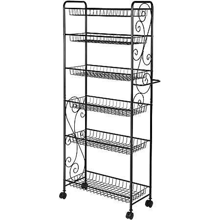 YP Étagère en métal avec roulettes et 6 rangements d'étagères pour cuisine, bureau, garage, salle de bain - 137 cm x 56 cm x 30 cm - Noir
