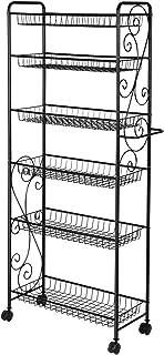 YP Étagère en métal avec roulettes et 6 étagères de rangement pour cuisine, bureau, garage, salle de bain Noir 137 cm x 56...