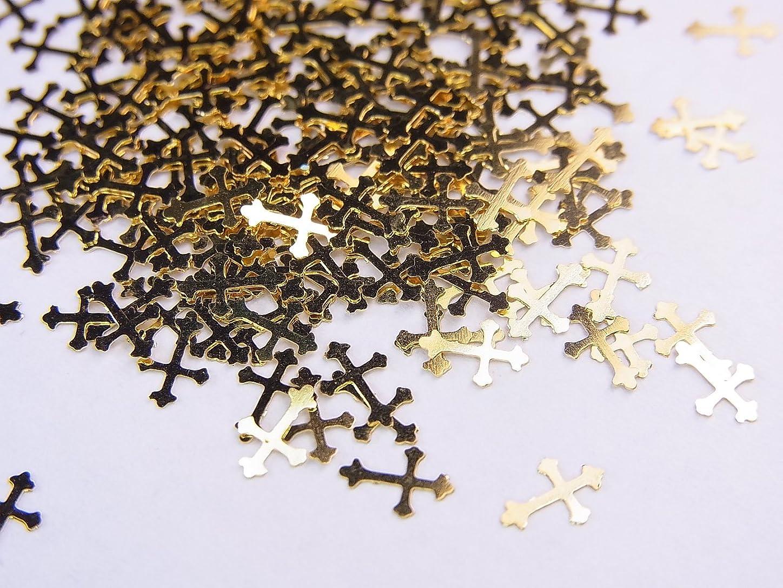 同一性弱い支給【jewel】薄型ネイルパーツ ゴールド クロス十字架10個