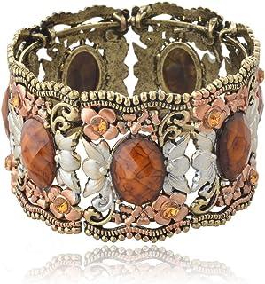 SUMAJU Cuff Bracelet, Drop Hollowed VTG Hot Flower Resin...