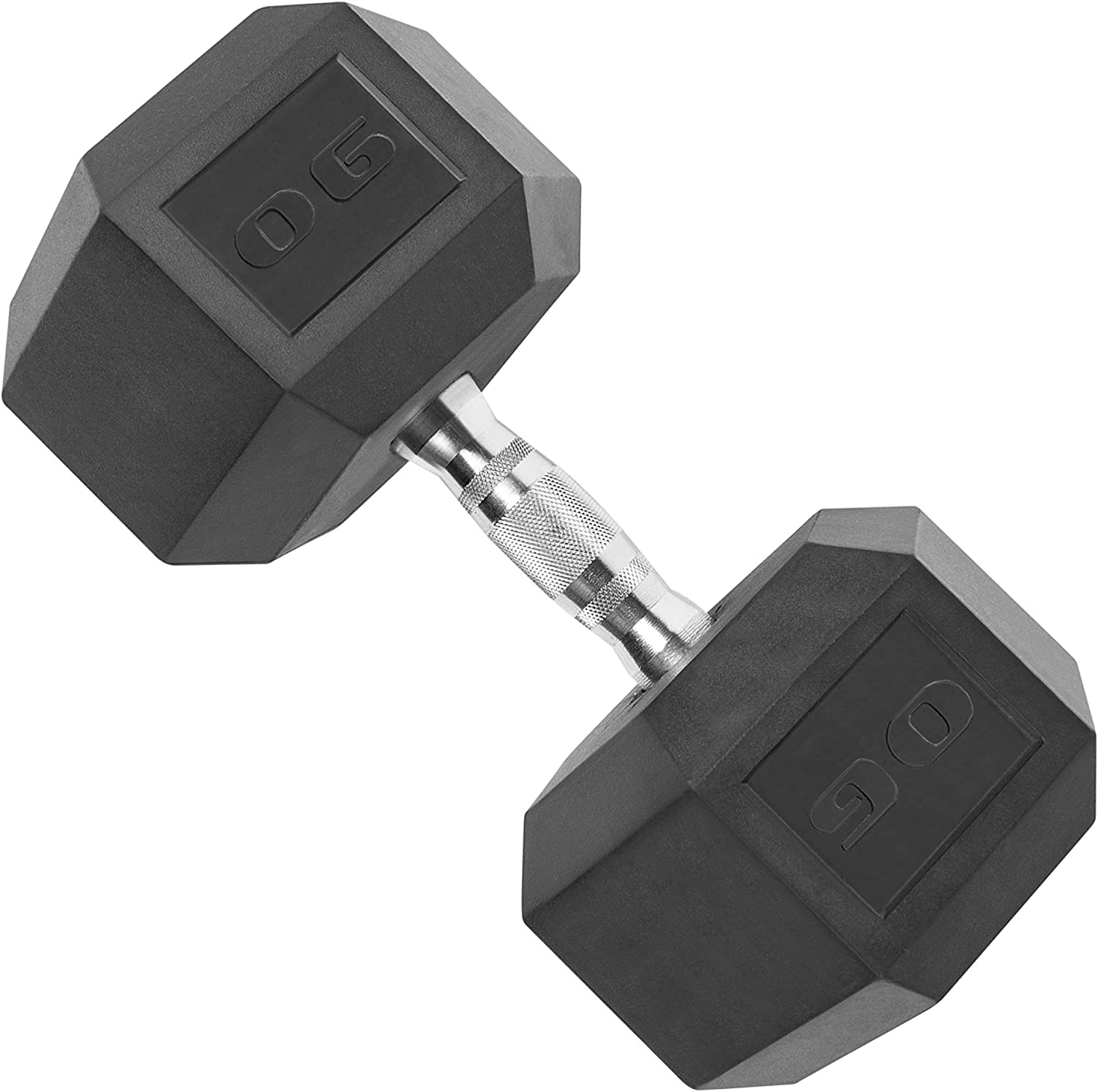 CAP Barbell Rubber Coated Hex Dumbbell with Contoured Chrome Handle, Single, Black, Chrome
