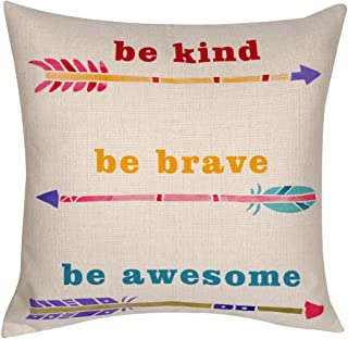 DECOPOW Be Kind,Be Brave,Be Awesome Throw Pillow, Gift to Kids Decorative Throw Pillow Case 18X18 Inches