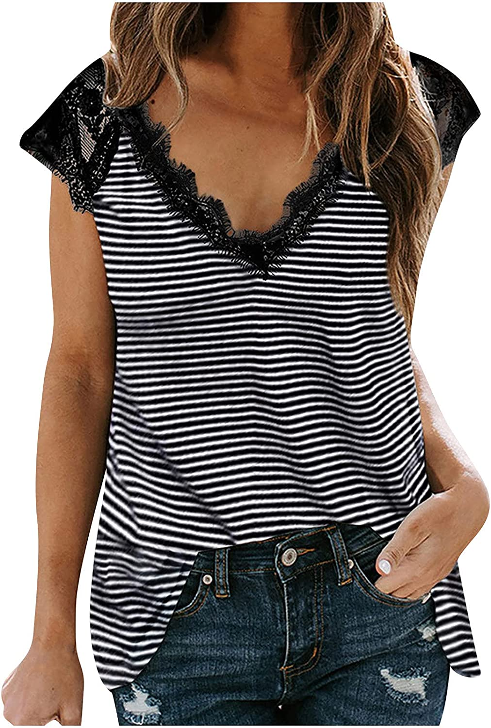 Womens Summer Tops Printing V-Neck Vest Tampa Mall Sl Sexy 67% OFF of fixed price Lace