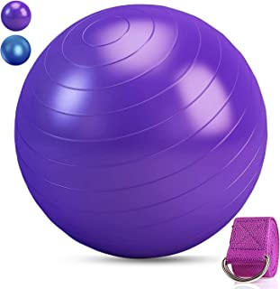 Tobeape Exercise Yoga Ball 65 cm, Extra Thick Anti-Burst Heavy Duty Stability Ball Supports 2200lbs with Quick Pump