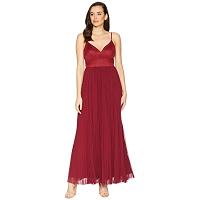 Laundry by Shelli Segal Suede and Chiffon Gown (Burgundy) Women
