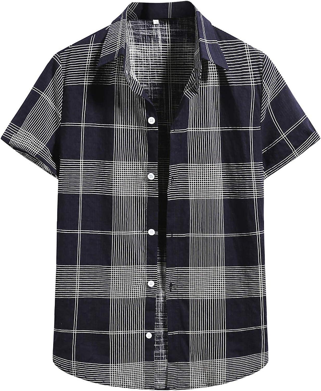 Mens Shirts Summer Short Sleeve Button Down T-Shirts Striped Plaid Graphic Printed Tees Regular Fit Fashion Beach Tops