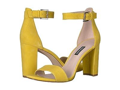 Nine West Nora Block Heeled Sandal (Citrine Yellow) Women