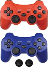 $24 » Bek Wireless PS3 Controller 2 Pack, PS3 Gamepad Remote with Non-Slip Joystick Thumb Grips, Rechargeable Battery Dualshock ...