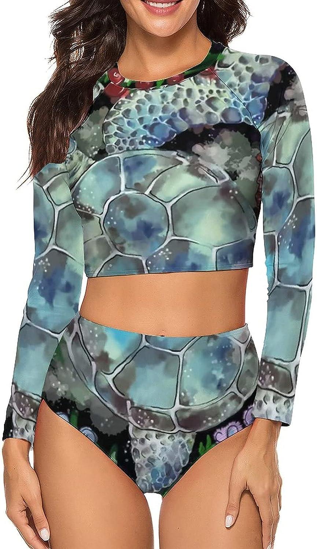Tvsuh-u Women's Bathing Suit 2 PCS Sea Turtle Floral Long Sleeve Rash Guard Swimsuits High Waist Athletic Shirt