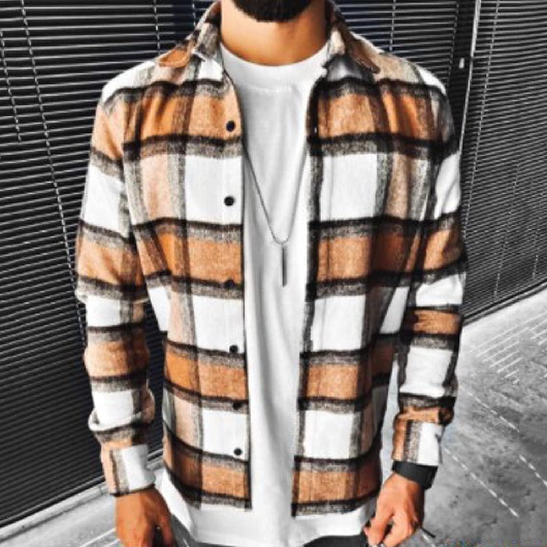 FORUU Wool Coat Men 2021,Fall Winter Casual Cardigan Jacket Long Coat Solid Oversized Long Overcoat Mens Plaid Jacket