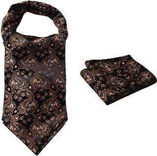 HISDERN Hombres Jacquard floral Ascot tejido & cuadrado de bolsillo Conjunto