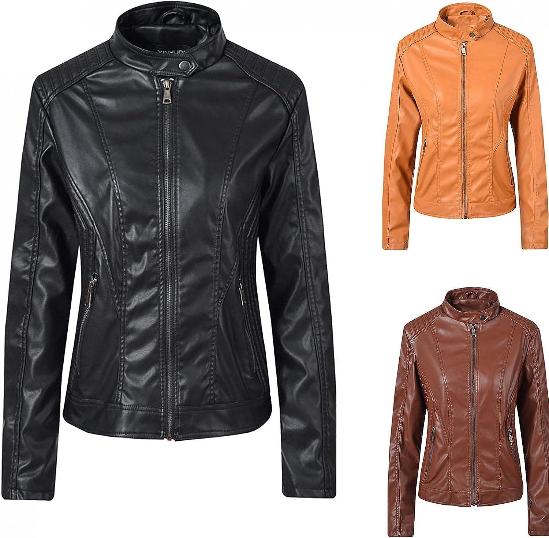 Women's Faux Leather Jackets Casual Slim Zipper Long Sleeve Bomber Jacket Fall Winter Warm Motorcycle Coat Blouse