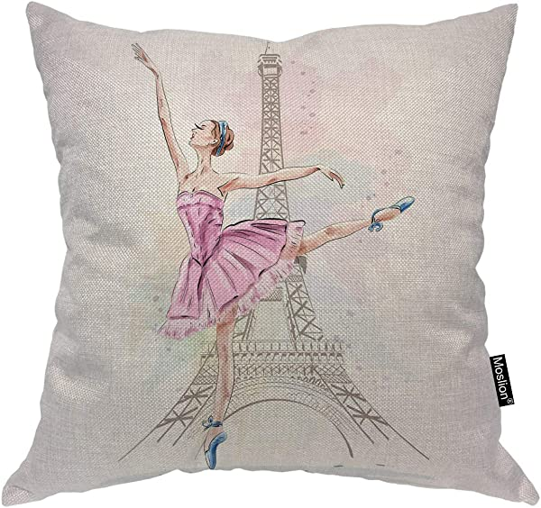 Moslion Ballerina Throw Pillow Cover Eiffel Tower Dancer Paris Eiffel Tower Beautiful Girl Posing Square Pillow Case Cushion Cover For Home Car Decorative Cotton Linen 18x18 Inch