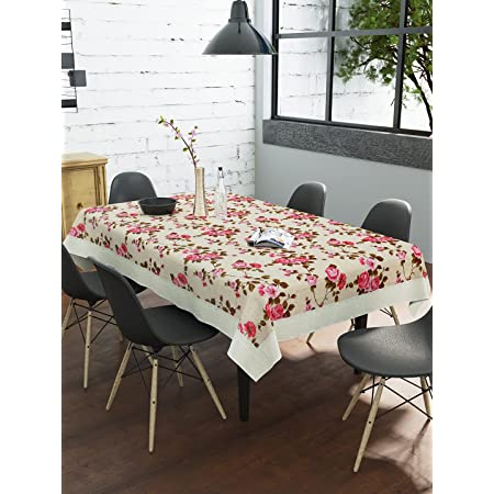 Clasiko 6 Seater PVC Dining Table Cover; Brown Roses & Pink Leaves; Anti Slip; 60x90 Inches or 152x225 Cms