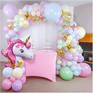 DELFINO Birthday Party Decorations, Unicorn Balloons for Girls Party, Large Unicorn Gradient Jumbo Number Foil Balloon Bou...