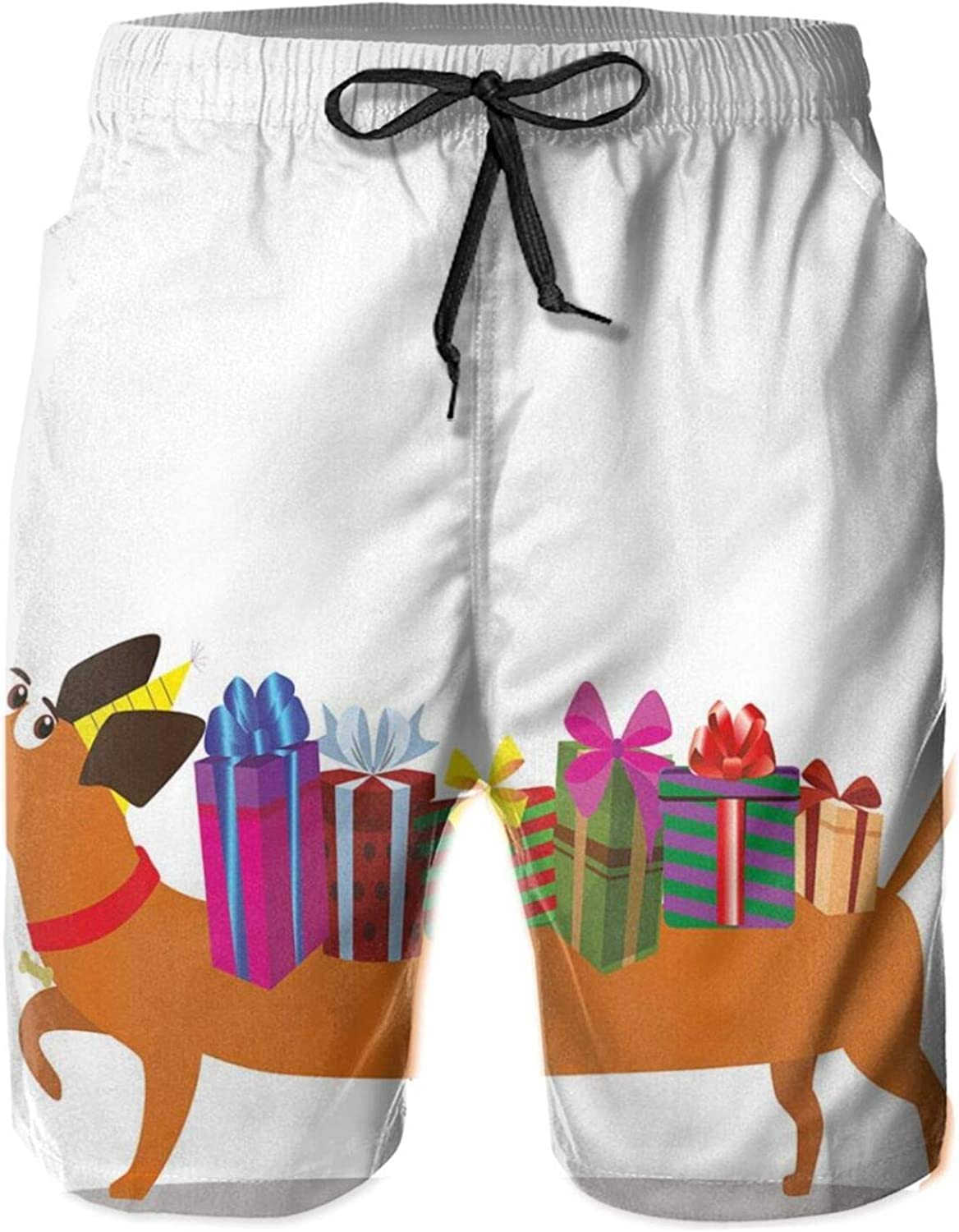 Nursery Themed Cartoon of Sausage Dog with Gift Boxes On Back and Balloon Tail Mens Swim Shorts Casual Workout Short Pants Drawstring Beach Shorts,M