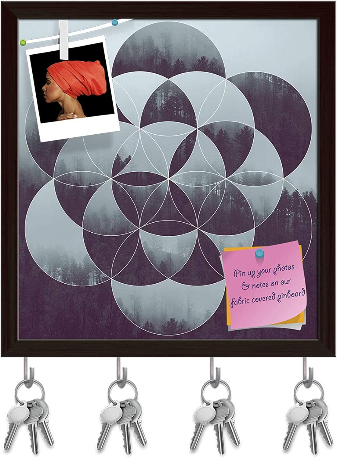 Artzfolio Forest & The Flower of Life Key Holder Hooks   Notice Pin Board   Dark Brown Frame 16 X 17.1Inch
